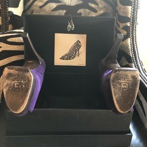 Stuart Weitzman Shoes - Stuart Weizman Purple Suede Open Toe Pump